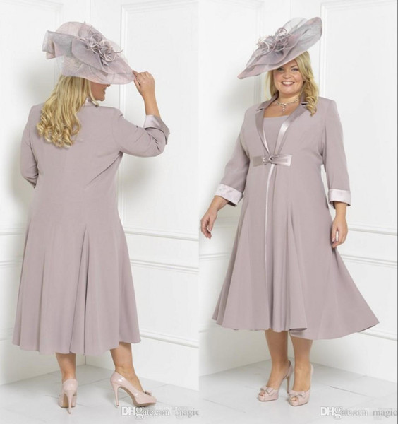 2018 Tea-Length Modest Chiffon Mother Of The Bride Dresses With Long Jackets Formal Occasion Evening Gowns Elegant Plus Size Prom Dresses