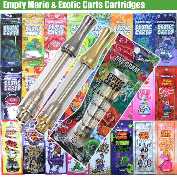 Mario vazio cartuchos exóticas cartuchos de sacos de hologramas AC1003 bobinas de cerâmica de ouro tanque de vidro atomizador óleo grosso todos os sabores vaporizadores caneta vape