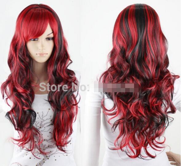 FREE SHIPPING + + + Hot Cool LOLITA Wavy Curly Red Mix Black Hair Full Wigs Fancy Cosplay Party Wig