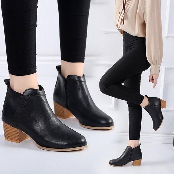 النساء أزياء خمر كعب منخفض كعب سميك قصير التمهيد عارضة جولة رئيس الكاحل الجوارب الأحذية الأحذية بوتاس femininas دي inverno l * 5