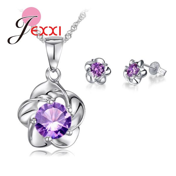 Роскошный Классический 925 Роза Цветок Ожерелье Фиолетовый Кубического Циркония Серьги Невесты Свадебные Ювелирные Наборы