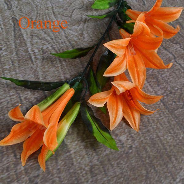 100 cm yapay zambak çiçek sahte kat monte ipek çiçek düğün ev dekoratif simülasyon için zambak çiçek