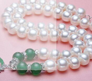 charming NYMPH pearl necklace jewlery Green agate natural pendant jewelry for Mother X1213