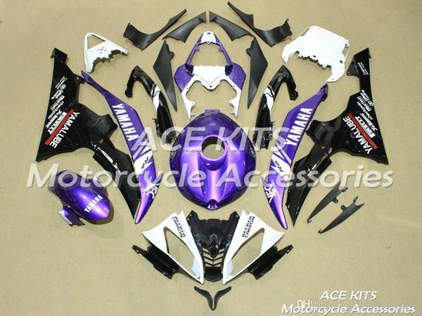 ACE KITS Carenado de motocicleta para YAMAHA YZF R6 2008-2016 Inyección o Compresión Carrocería impactante negro Púrpura + TANQUE NO.2264