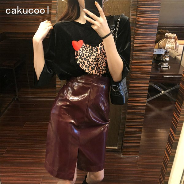 Cakucool New Short Sleeve Velour T shirt and High Waist Shiny PU Leather Skirt Vintage Chic 2 piece Set Summer chandal Mujer