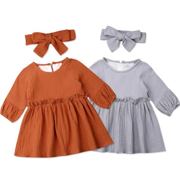 1-4Years Vintage Nouveau-né Tout-petit bébé fille robe à manches longues Volants Tutu Girl Dress Automne Printemps Costumes Vêtements de bébé