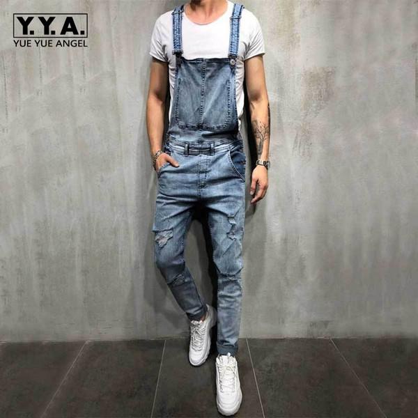 Fashion Cowboy Mens Jeans Overalls Pants Hole Ripped Denim Rompers Slim Fit Pencil Pants Plus Size Man Jumpsuit Jeans Trousers