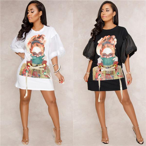 Vestidos de verão das mulheres o-pescoço designer solto manga lanterna vestido mulheres impresso fita vestidos casuais roupas femininas