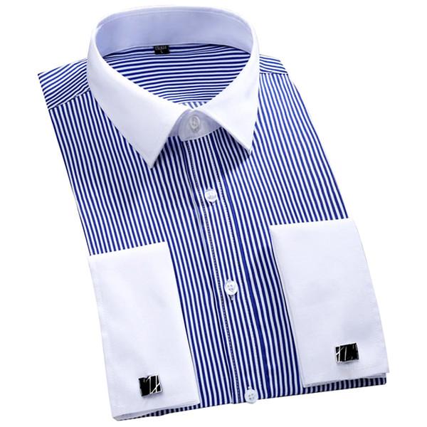 2019 Novo Design de Colarinho Branco Listrado francês Cufflinks Men Shirts Camisas Plus Size manga comprida Partido Cuff francês homens se vestem 4XL 46