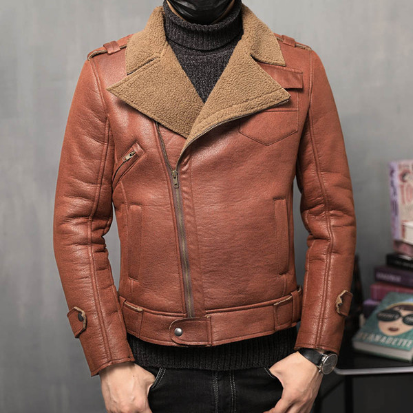 Winter Fashion Slim Fit Zipper Men's Leather Jackets Men Jacket Classic Motorcycle Bike Thick Warm Brown Jackets Coats 4XL 5XL