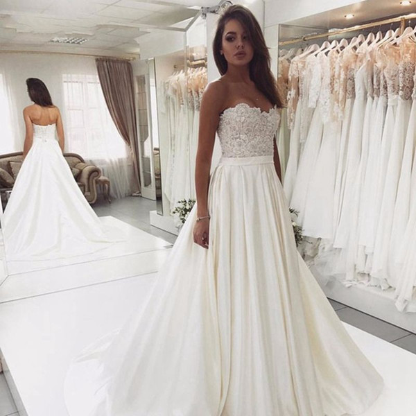 2020 Cheap Taille Plus Country Style dentelle Une ligne de perles appliques de mariage Robes de Bohème Robes de mariée pour les mariées robe de mariée