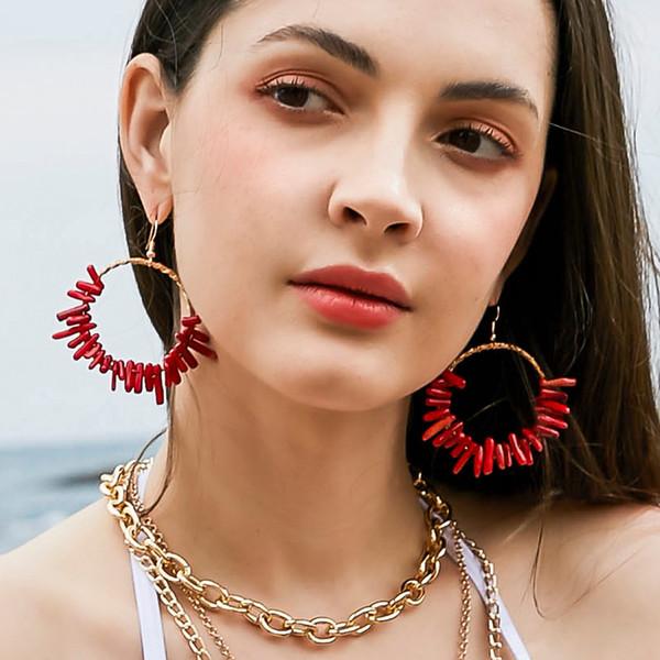 Orecchini OTOKY 2019 Orecchino da donna Large Metallic Geometric Round Red Coral Orecchini Donna Gioielli da donna 19 May22