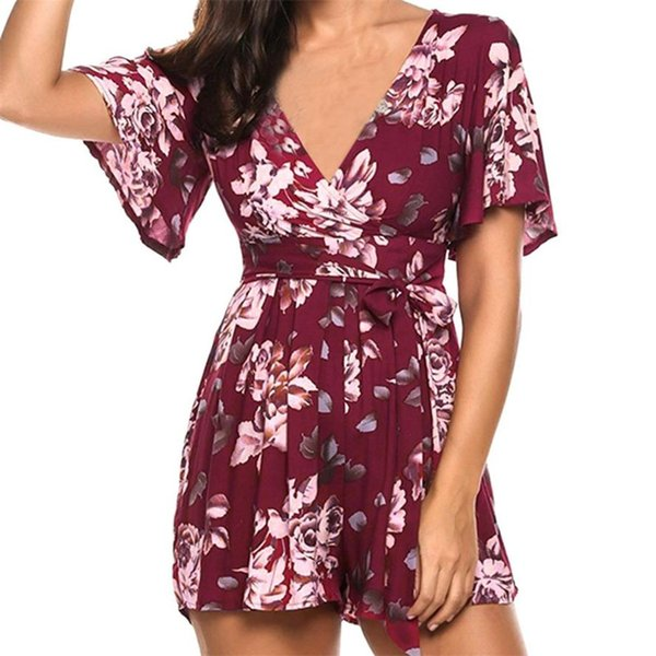 jumpsuits for women 2018 Bohemia Floral Printing Short Sleeve V Neck playsuit monos de verano para mujer lx3-8 dropship