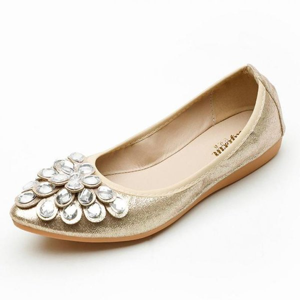 Women Crystal Ballet Shoes Gold Silver Pointed Toe Rhinestone Flats Soft Breathable Slip-on Flat Doll Shoes Comfortable Loafers
