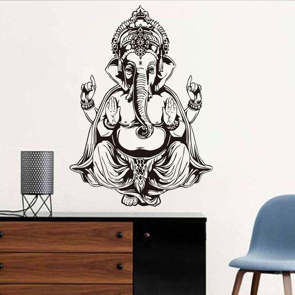 1 Pcs Waterproof Wallpaper Ganesha Elephant Buddha Mandala Yoga Wall Stickers Home Decor Vinyl Wall Decals Mural For Living Room