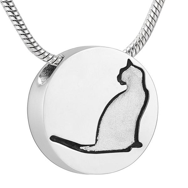 IJD10735 Colgante de recuerdo de patrón de gato de plata de cremación de acero inoxidable para cenizas Vendedor de urna Collar conmemorativo para mascotas Joyería
