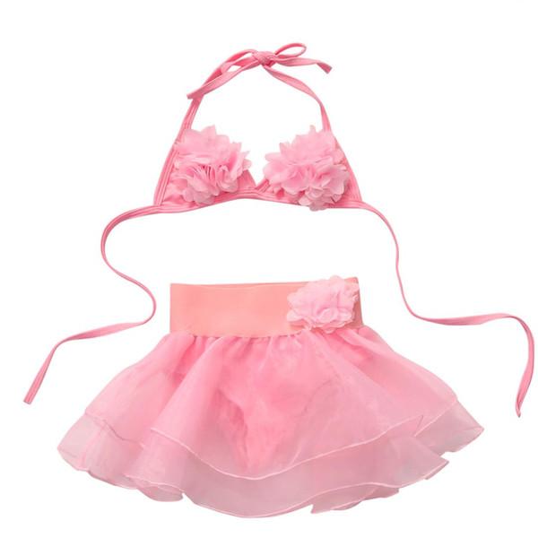 2pcs caliente del sistema cabritos del niño de los bebés del cordón del verano de Tankini de Soild floral rosado del bikini de encaje inferior de traje de baño traje de baño