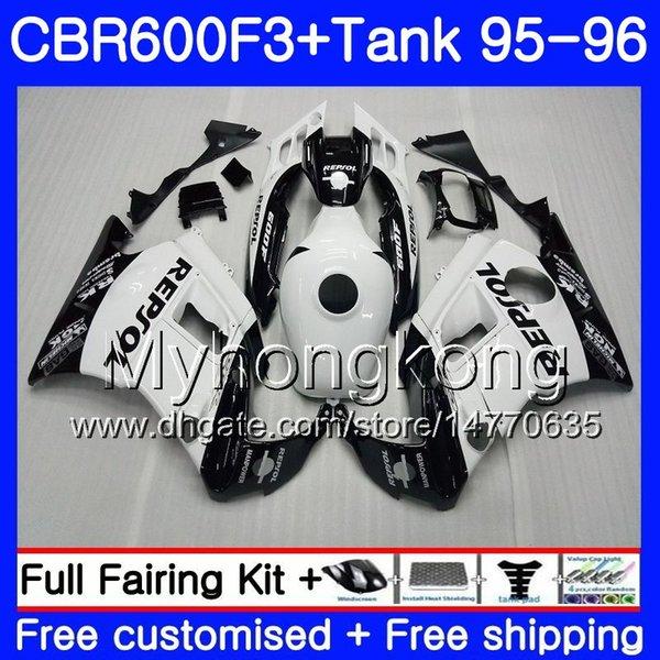 Bodys Repsol hot white +Tank For HONDA CBR 600 F3 FS CBR600FS CBR600 F3 95 96 289HM.46 CBR600RR CBR600F3 95 96 CBR 600F3 1995 1996 Fairing