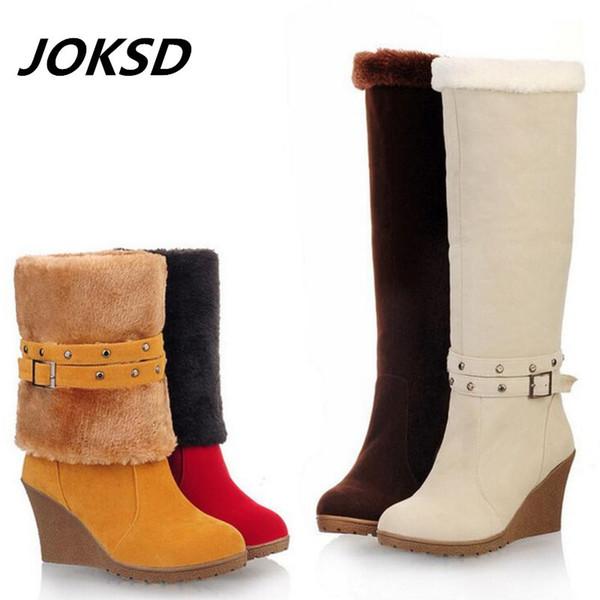 Compre Joksd Moda De Gamuza Helada Mujeres Tacones De Cuña Botas Largas Mujer Dos Formas De Vestir Rodilla Plataforma Botas Altas Tamaño 34 43 L125 A