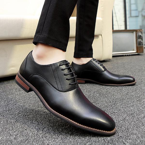 Acheter Mode Hommes Chaussures De Bureau En Cuir Véritable Hommes Robe Habillement Professionnel Chaussures Casual Homme Doux Lacets Jusqu'à Oxford