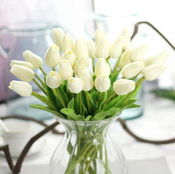 1 Pc Artificielle tulipes Fleur pour printemps maison décoration de mariage flores Pas Cher PU Faux fleurs Artificiales tulipe blanche