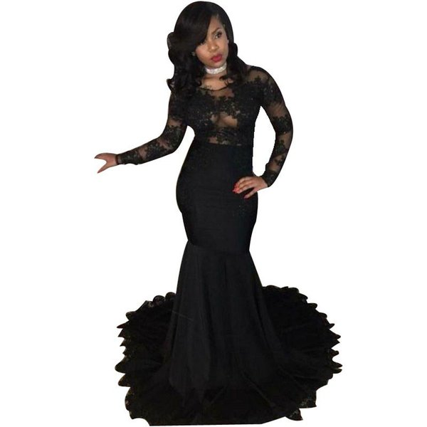 Sexy Appliques Black Prom Dresses 2019 Mermaid Scoop Neck Long Sleeves Party Gowns African Black Girls Formal Wear Long