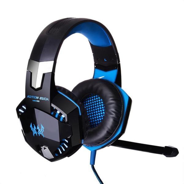 Kulaklık G2000 Gaming Headset Mikrofon 3.5mm Kulaklık Rekabetçi Kulaklıklar Stereo Bas Gürültü Azaltma LED Işıklar