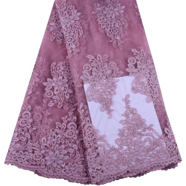 Розовый цвет 2019 Африканский Кружевной Ткани Высокого Качества Вышивка Тюль Материал Французское Кружево Яркая Линия Нигерия Кружевной Ткани 1529