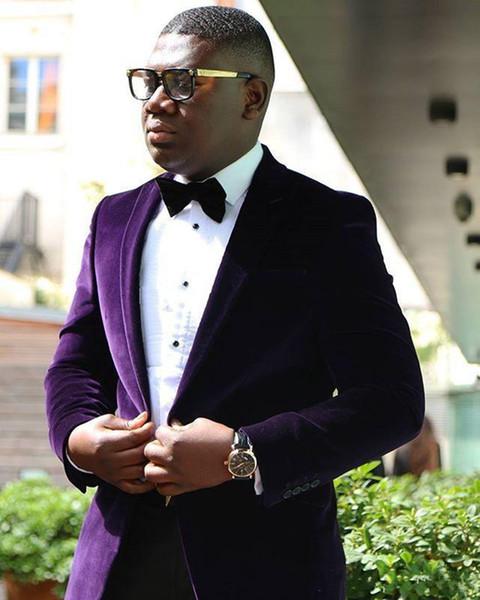 New Stylish Design Groom Tuxedos One Button Dark purple Velvet Peak Lapel Groomsmen Best Man Suit Mens Wedding Suits (Jacket+Pants+Tie) 923