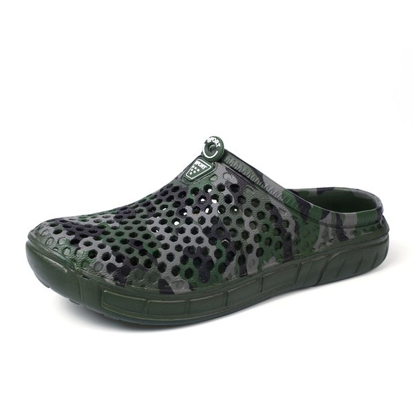 Summer men's personality non-slip camouflage slippers lazy bird nest casual hole shoes pump beach shoes quick drying garden shoe