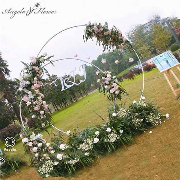 Scaffale da parete in ferro battuto per decorazioni da festa per bambini, anello in ferro battuto, anello rotondo, arco circolare, prato, fiori artificiali, fila di fiori