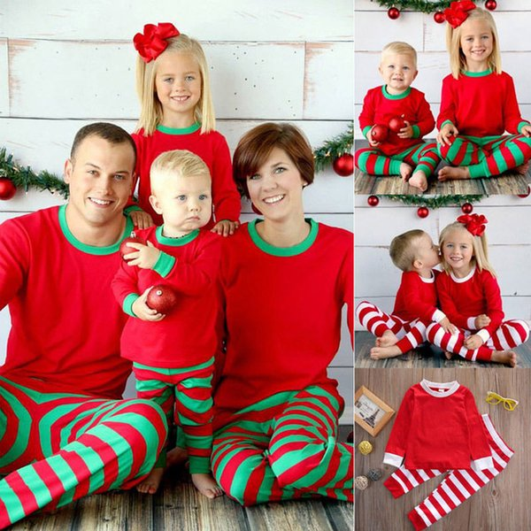 Mother Christmas.Retail Family Christmas Pajamas Set Mother And Daughter Father Son Kids Striped Xmas Pjs Set Baby Clothing Set Family Pajamas 2018 New Big Boys
