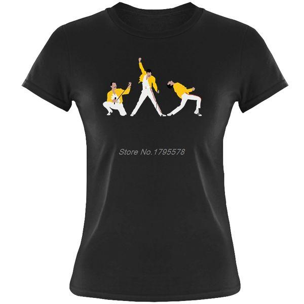 Freddie Mercury Rock Star Camiseta Mujer Camiseta de manga corta Verano O-cuello Algodón Mujer Camiseta Hip Hop Tees Tops