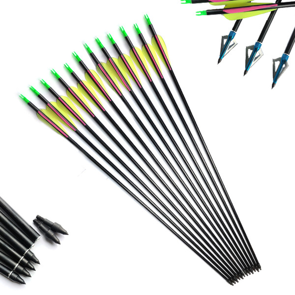 """Linkboy Archery 30"""" Fiberglass Arrow Plastic Vanes Replaceable Internal Point For Compound Recurve Bow Hunting Shooting"""