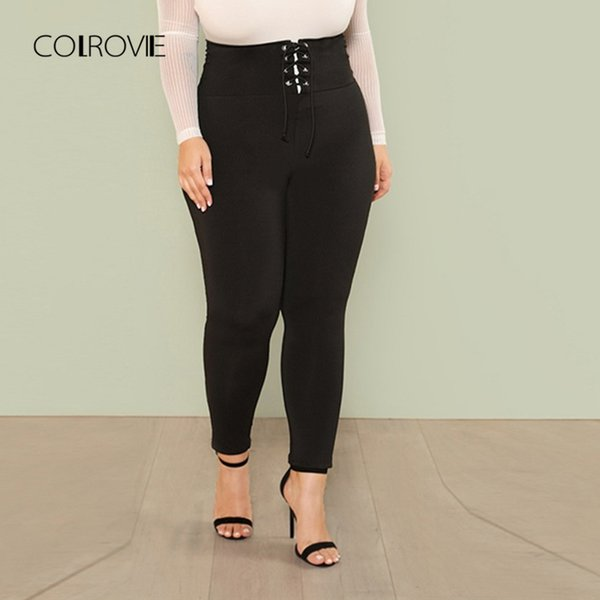 Colrovie Plus Size Black Lace Up Wide Waistband Skinny Leggings Female New Sports Fitness For Women Sexy Pants Q190509