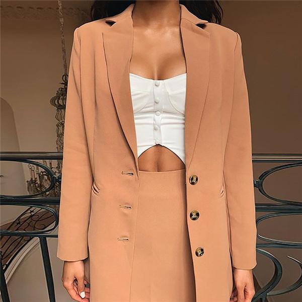 2019 Nouveau Bouton De Mode Dames Lâche Veste Longue Femmes Khaki Sous-Vêtements Manteau Sexy Femme Blazer Bureau Veste Décontractée