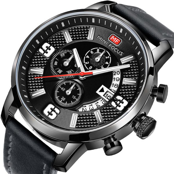 Sports Men Wristwatch Quartz Movement 43.5mm Diameter Three-pin Dial Dial Leather Belt Date Calendar Stopwatch Display Mens Designer Watch