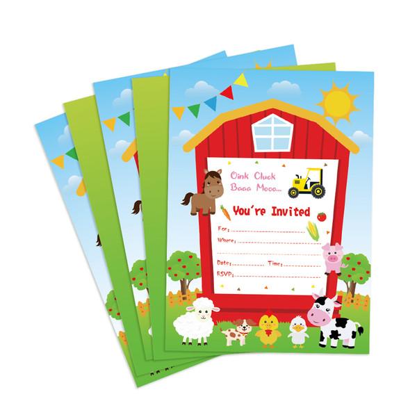 Farm Animals Theme Birthday Party Invitations Cards Decorations Carton Cow Duck Sheep Dog Paper Invitations Kids Party Favors Birthday Cards Free