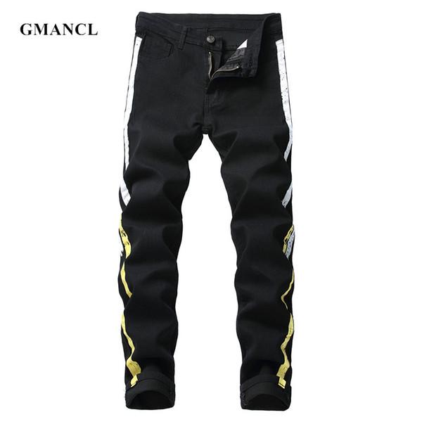 Hommes Nouveau Stripe enduit skinny jeans Homme High street Hip Hop Stretch Slim Stretch Coton Noir Biker Joggers Denim Pants