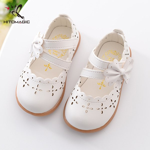 Hitomagic Baby Girl Shoes Toddler Girl Shoes For Children's Footwear Princess Hollow Bowtie Pink Breathable Hooks Child Shoe J190508