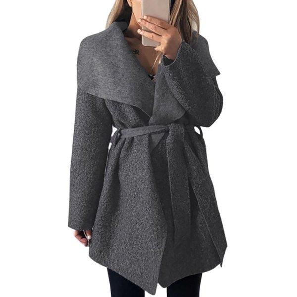 Women Wool Coat Winter Warm Fashion Long Sleeve Belt Coat Women Wool Blend Coats Outerwear