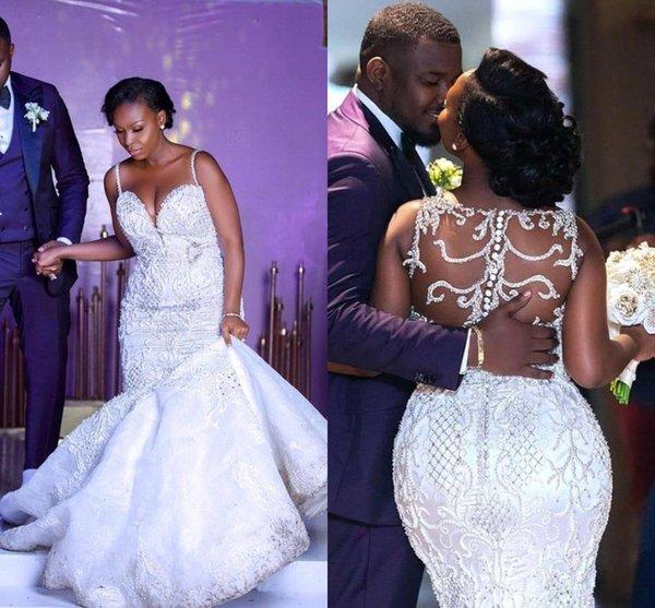 African Arabic Crystals Mermaid Brautkleider 2019 Sexy Straps Spaghetti Spitze Appliques Sheer Zurück Plus Size Brautkleider Nach Maß