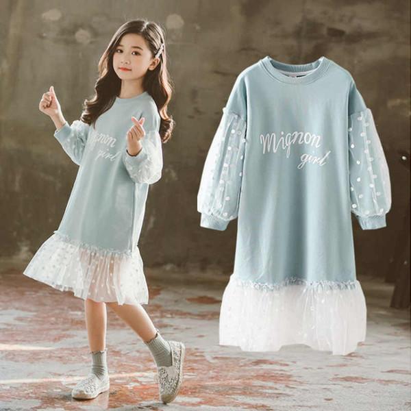 Moda 2019 Niños Vestidos para niñas Ropa de manga larga de encaje blanco Primavera Otoño Ropa adolescente Vestido de bebé Sudadera Vestidos J190712