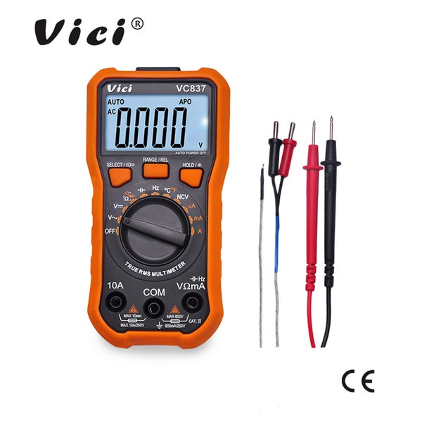 Multimètre numérique ViCi DMM True RMS LCD Gamme automatique Résistance de la capacité Fréquence NCV Cycle de travail Fonction de maintien des données 600V 10A