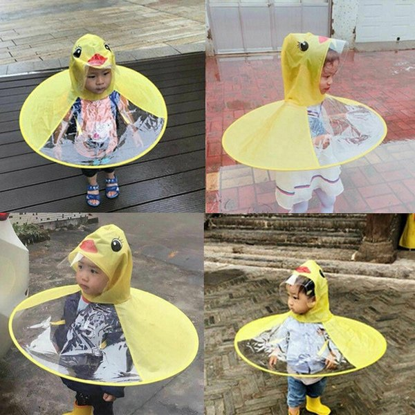 Rain Coat UFO Duck Kids Baby Umbrella Hat Magical Hands Free Raincoat Yellow UK