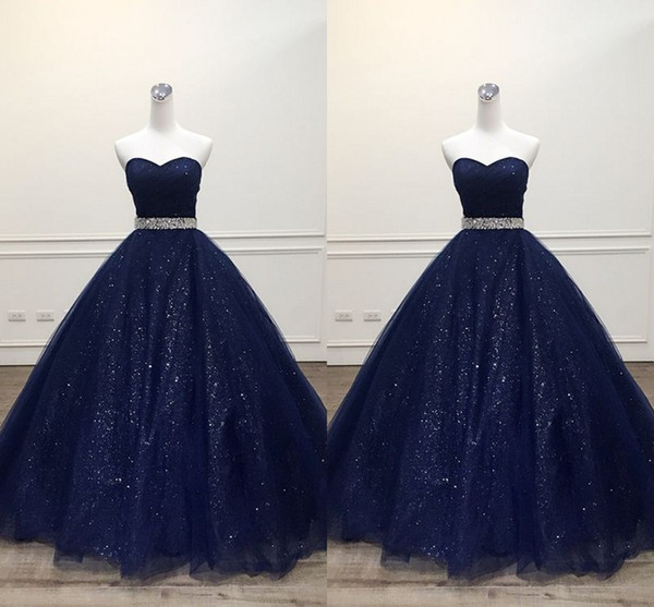 2019 Navy Blue Tulle Prom Dresses Simple Ball Gowns For Sweet 16 Girls Strapless Beaded Sashes bling Tulle Evening Gowns Quinceanera Dress
