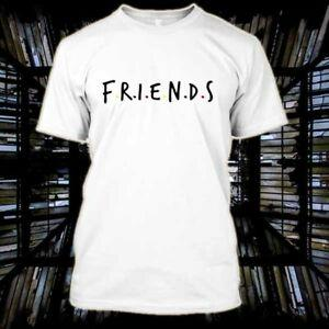 Arkadaşlar Tv Show Logosu Beyaz Mens T Gömlek Pamuk Boyutu S 2XL
