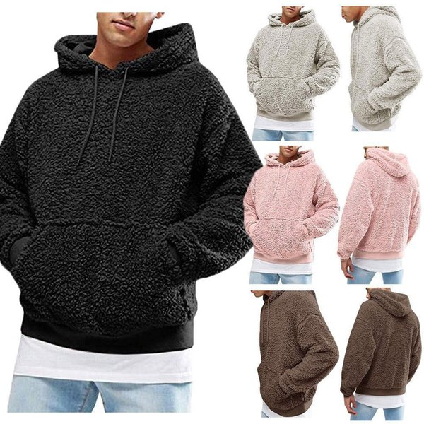Мужская мода Повседневный пуловер Hoodie Пушистый флисовые рубашки с капюшоном Tee Толстовка