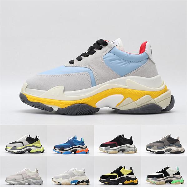 2019 Qualidade Superior Triplo S Das Mulheres Dos Homens de Moda de Luxo Paris Designer Sapatos Casuais Tênis de Plataforma Nova Sapatos de Papai Formadores Tamanho 35-45