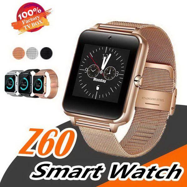 Z60 smart watch rastreador de fitness com suporte de aço inoxidável sim e cartão tf bluetooth smartwatch para android com caixa de varejo